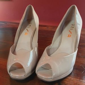 417b10d49cd Nude Unisa Peep Toe Wedge Heel Shoes SIZE 10M- NEW